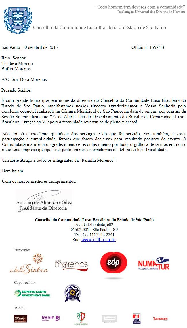 Agradecimento do Conselho da Comunidade Luso-Brasileira do Estado de São Paulo