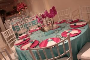 Decoração Azul Tiffany e Rosa Festa Debutante