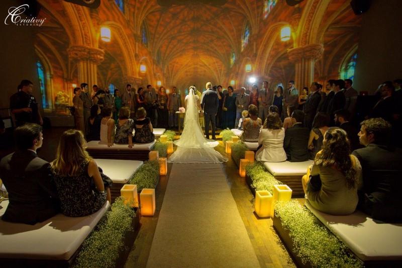 projeção mapeada casamento cerimonia no local