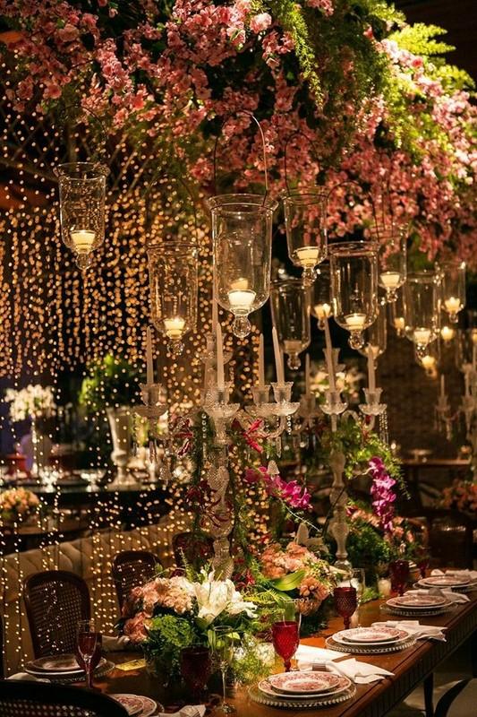 iluminação com fairy lights para casamento