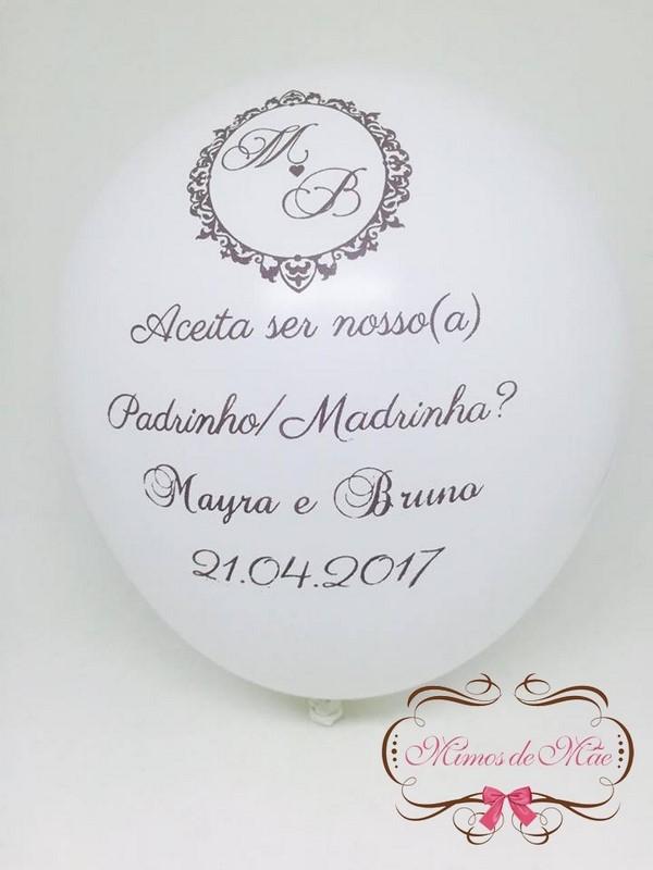 convite com balões para padrinhos de casamento