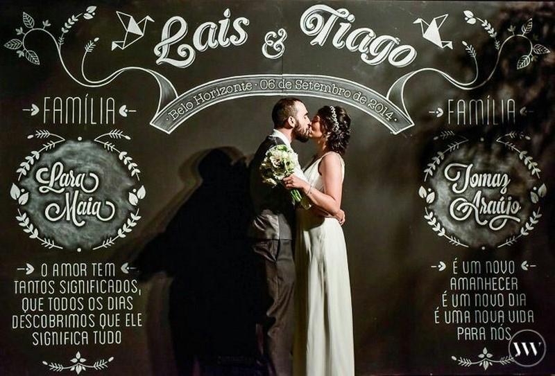 painel lousa na decoração do casamento