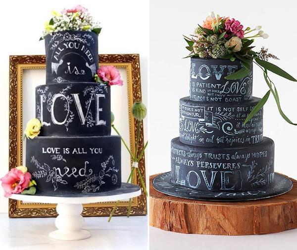 bolo decorado estilo lousa festa de 15 anos