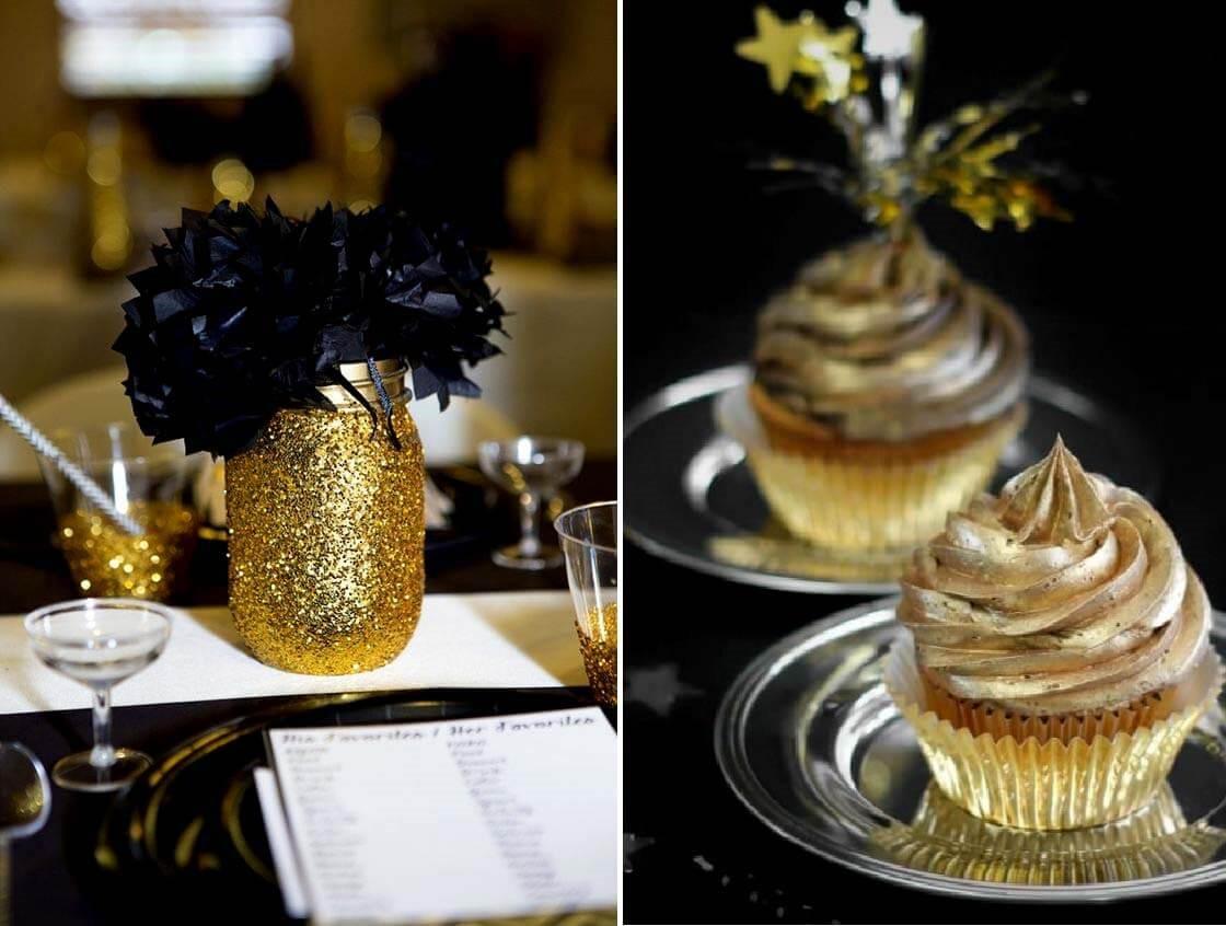 decoração preto e dourado para festa de debutante