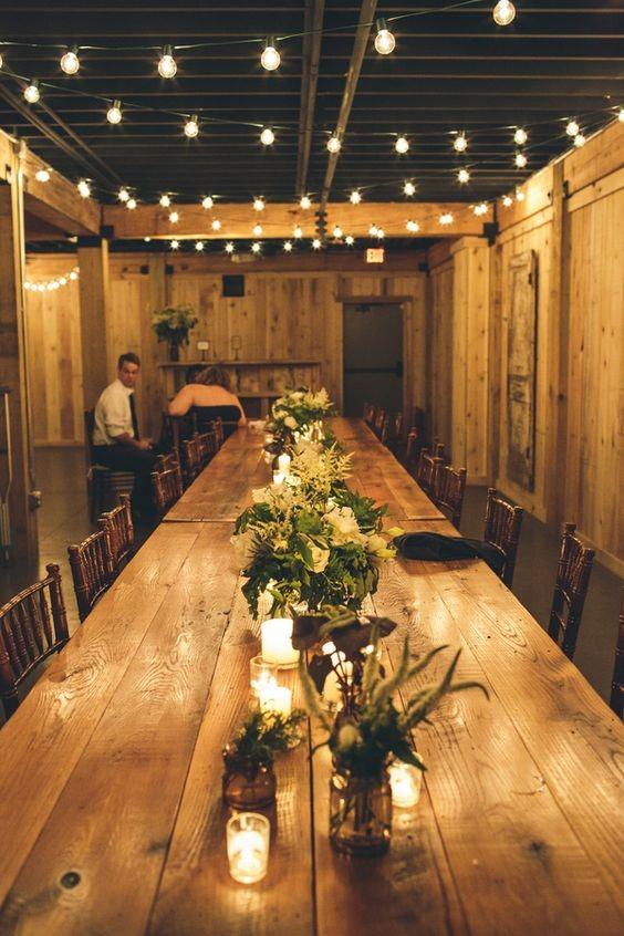 decoração para mesa comunitária para casamento tendência 2018
