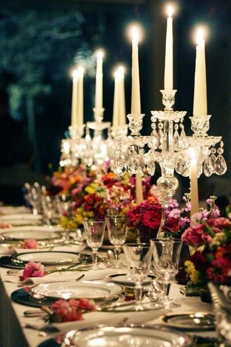 decoração mesa comunitária para festa de casamento tendência 2018