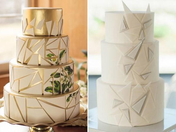 bolo fake com desenhos geométricos