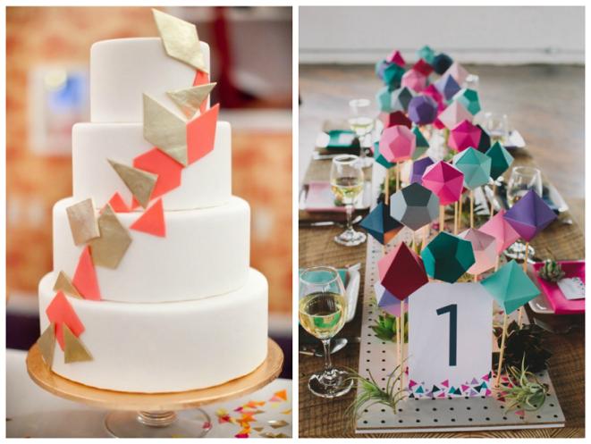 bolo fake casamento com desenhos geométricos