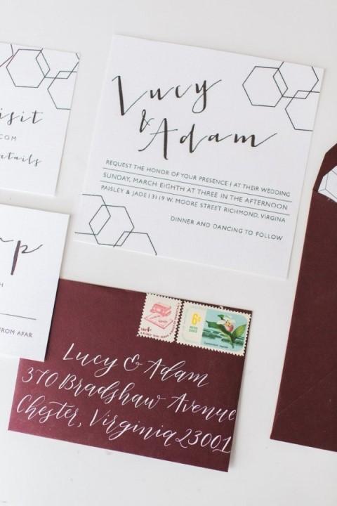 convite casamento com itens geométricos