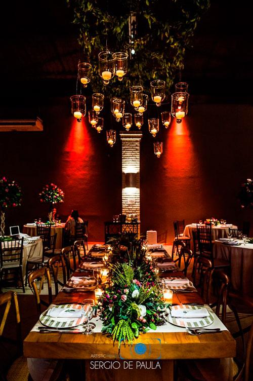 casamento estilo rústico iluminação