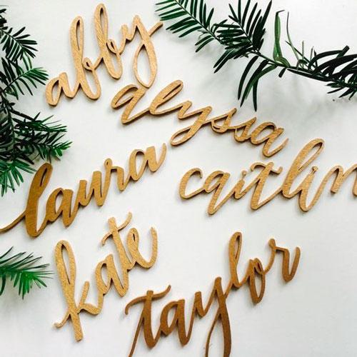 laser cut nomes decoração casamento
