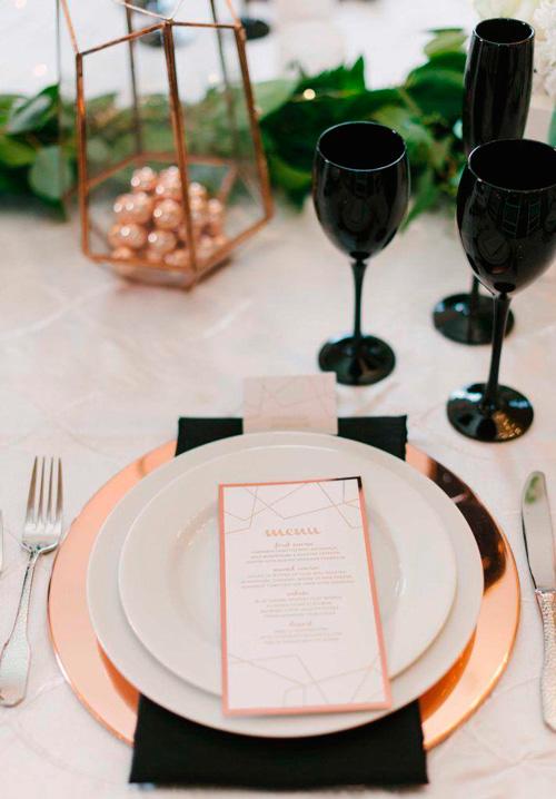 decoração casamento minimalista mesa