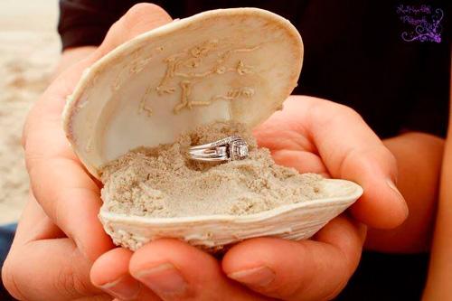 porta alianças para casamento na praia