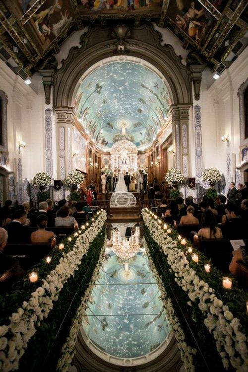 decoração com espelhos igreja casamento