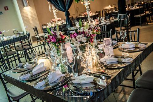 decoração mesa com espelho casamento